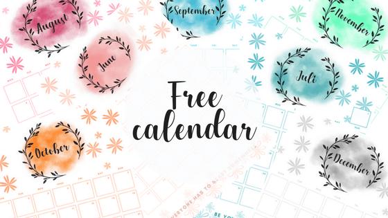 Free calendar printable. monthly planner, watercolor