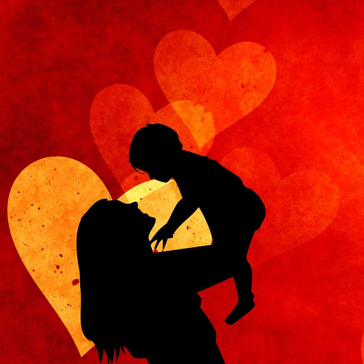 mother and child on a red background. Why you shouldn't punish children for their parents problems. children are innocent by miss mental personal story