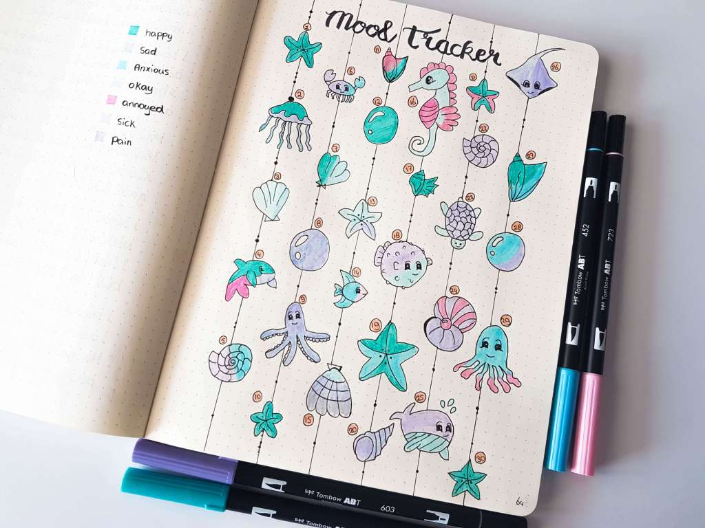 Bullet journal mood tracker ocean theme. August theme planner. Bujo inspiration. bullet journal community. Plan with me. Sea creatures ocean. Shell, seahorse, seastar, fish, octopus, crab and other cute drawings. Artsy brush style. blue #bulletjournal #bujo #ocean #planner #draw #drawing #cute