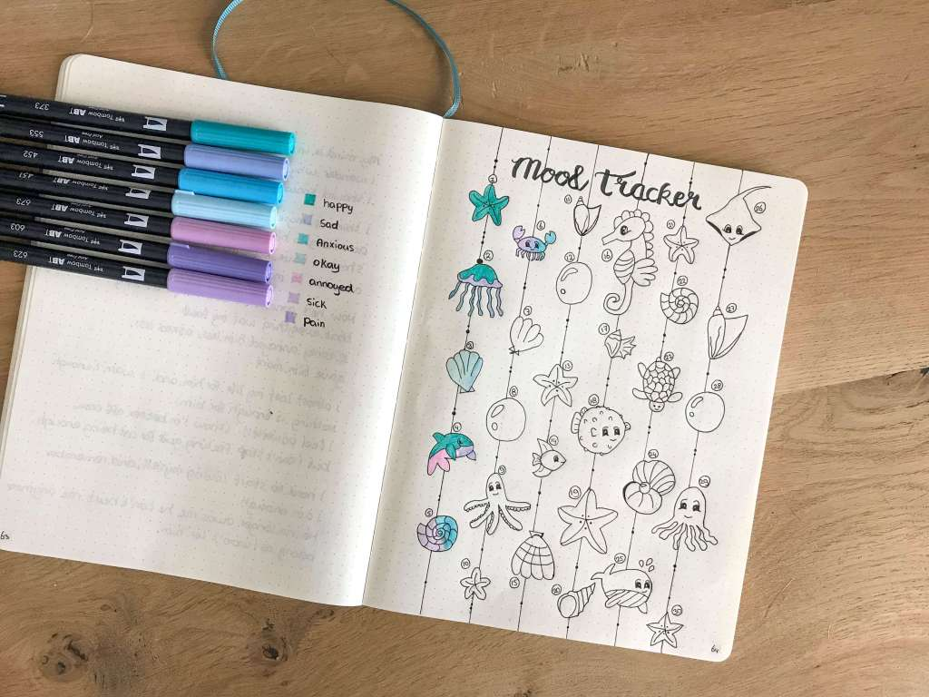August bullet journal mood tracker seacreatures underwater theme | plan with me bullet journal community - live a healthier balanced and organized life - drawing - jellyfish, starfish, seahorse, shell drawings #bujo #bujolove #planner #bulletjournal