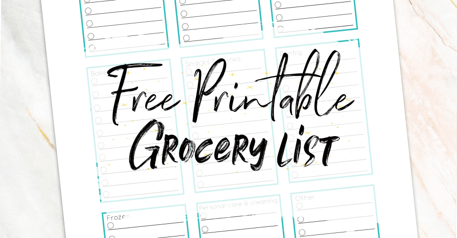 Download this free printable grocery list at miss mental to make your grocery shopping a lot easier. This list is categorized in separate boxes so it's easy for you to see what you need and in what aisle you can get it! Made with beautiful teal color. Homemaking made easy! Family life | walmart | grocery shopping | Parenting | adulting | #freebie #printable #planner #groceries #shopping