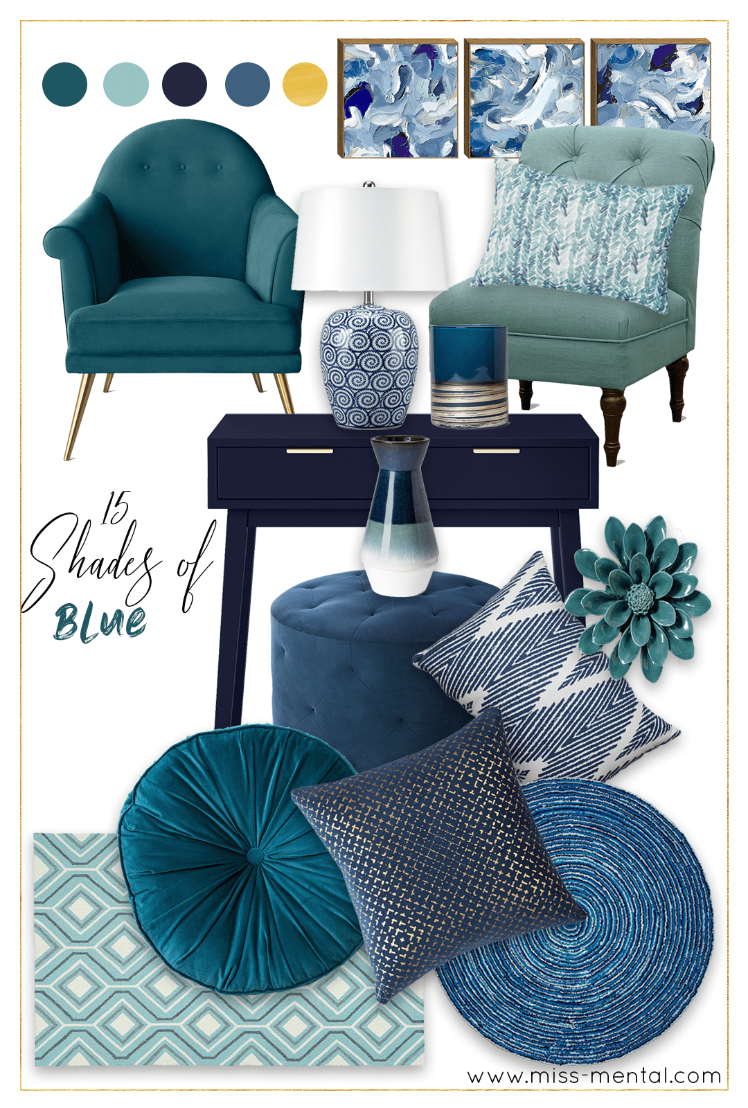 Target home decor blue inspiration + Target giveaway! Beautiful blue colors like turquoise and navy with a splash of gold here and there. Very modern, feminine and works in every home! Target sale code included, shop your fall/winter home decor now!