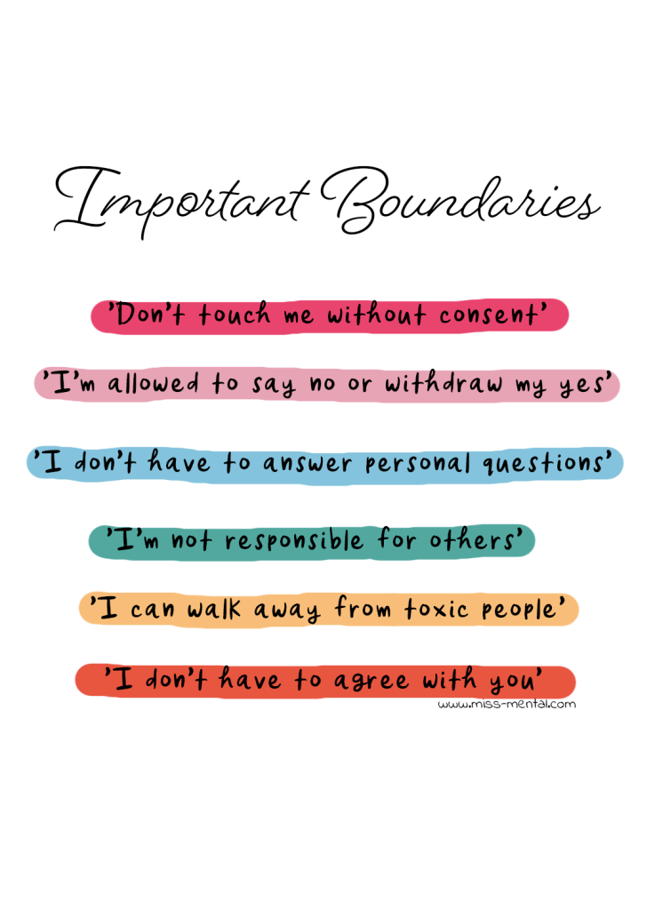 Important boundaries to set for your well being and mental health: 'Don't touch me without consent', I'm allowed to say no or withdraw my yes, I don't have to answer personal questions, I'm not responsible for others, I can walk away from toxic people, I don't have to agree with others. #mental health #illustration