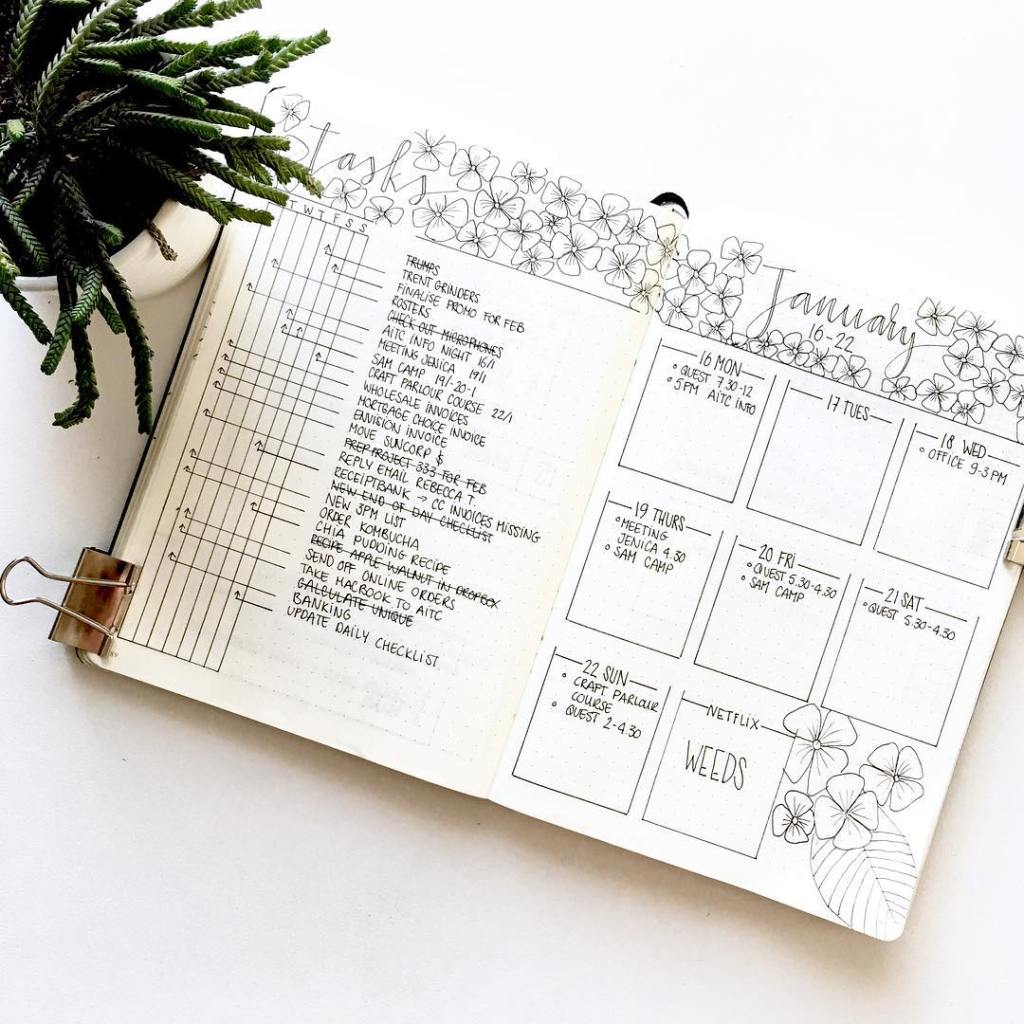 minimalist bullet journal weekly spread with flower elements
