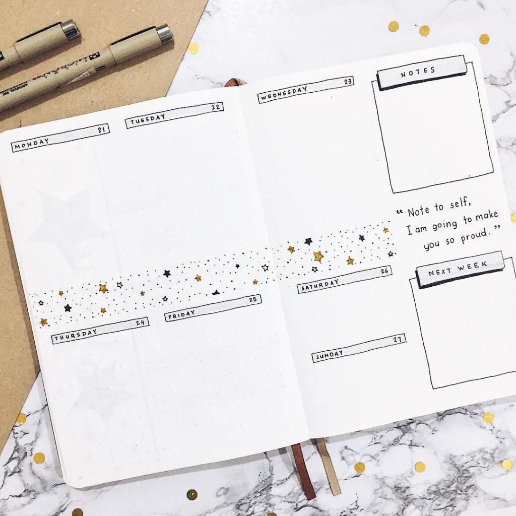 minimalist weekly spread dots bujo
