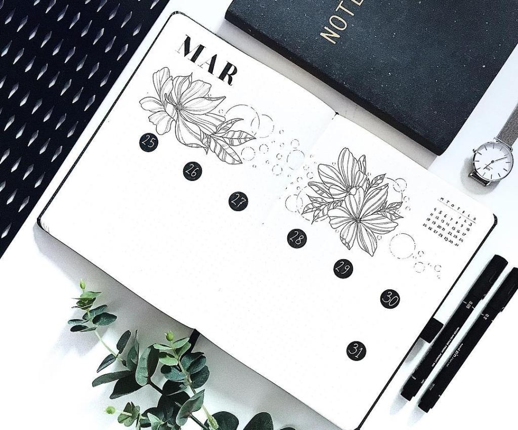 minimalist bullet journal spread black white floral weekly inspiration
