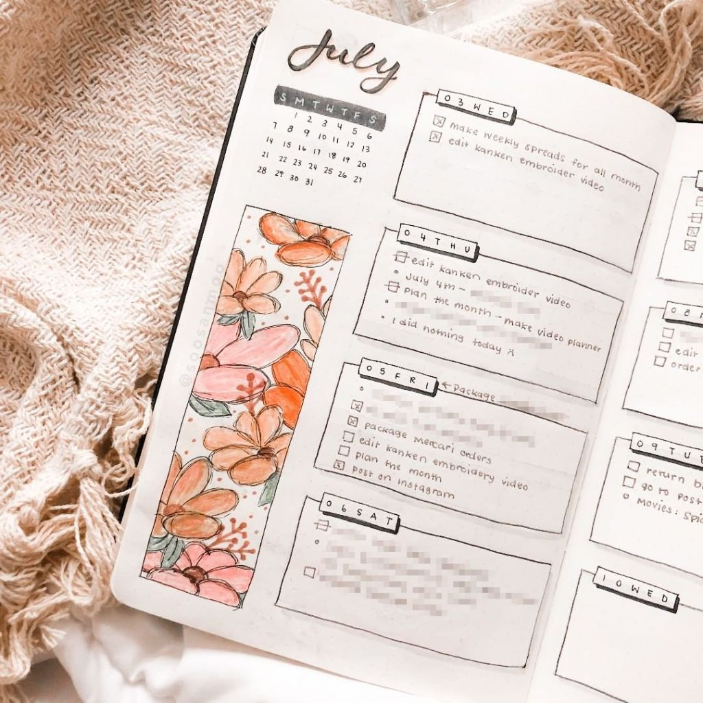 minimalist weekly spread blush and peach floral