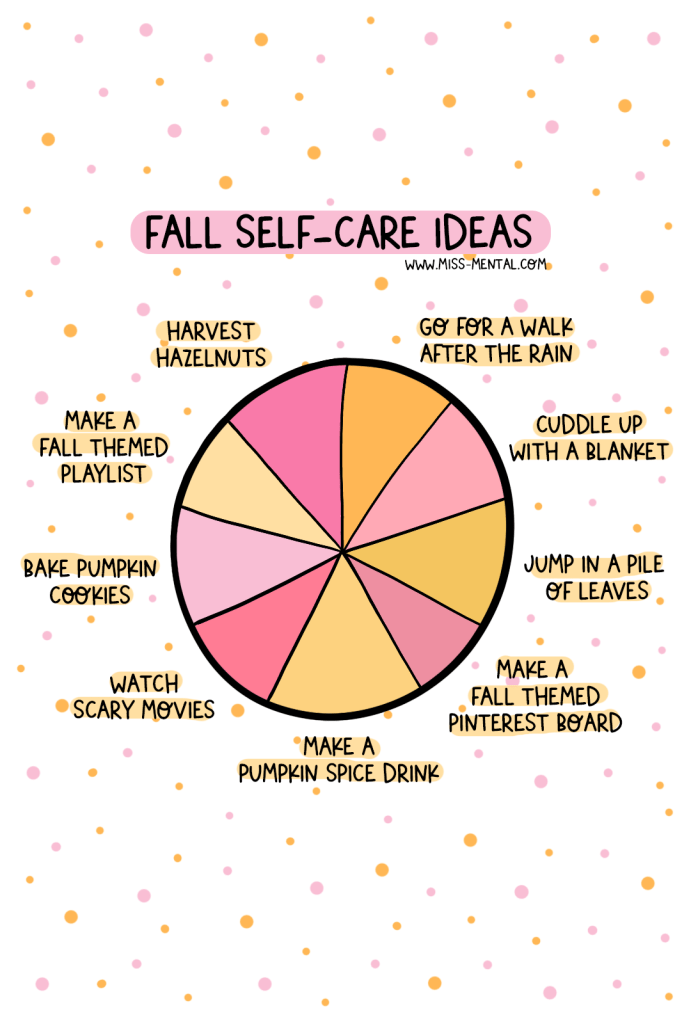 Fall self-care ideas positive quote illustration. Things to do in the fall. Autumn activities