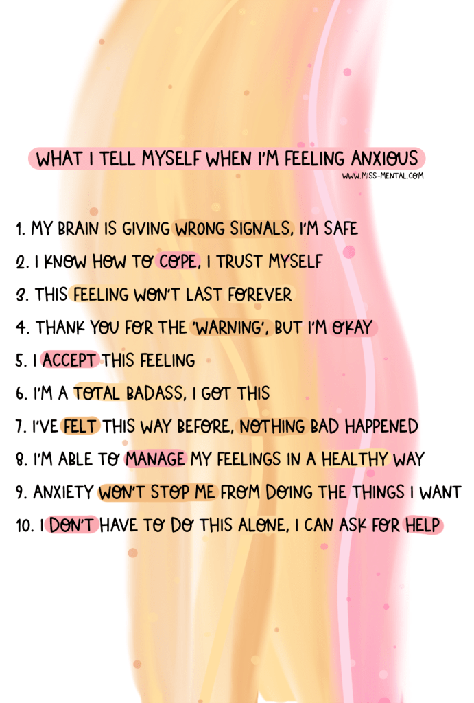 Things I tell myself when I'm feeling anxious. How to handle panic and anxiety attacks. Mental health drawing, mental health art | anxiety tips and support