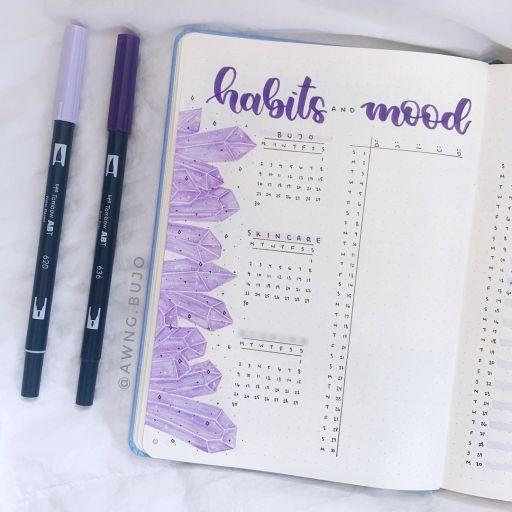 Crystal mood tracker + habit tracker. Bullet journal ideas inspiration by awng.bujo