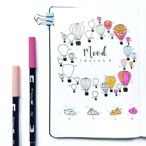 air balloon mood tracker spread bullet journal inspiration