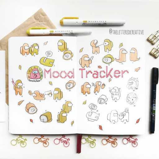 among us bullet journal spread idea mood tracker made by ©theletteredcreative on insta