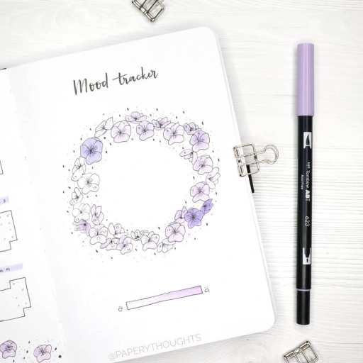 minimal mood tracker design flowers made by paperythoughts