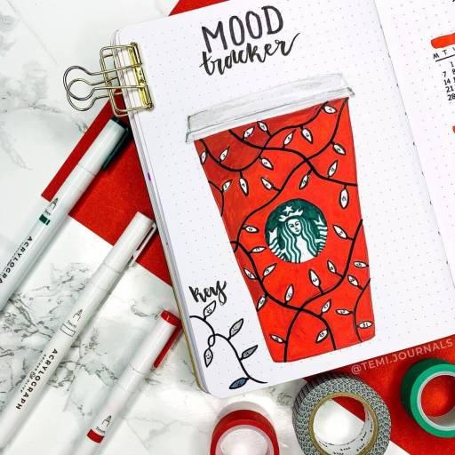 Mood tracker starbucks design. Original bullet journal ideas. Bujo idea for coffee lovers