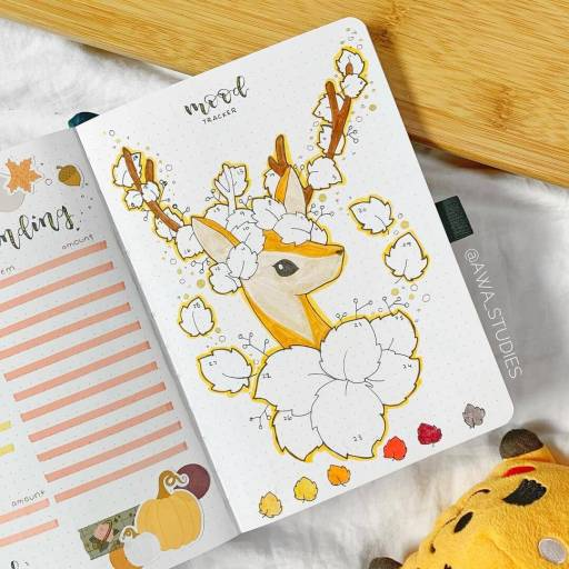 Mood trackers ideas Deer with flowers bullet journal spread inspiration