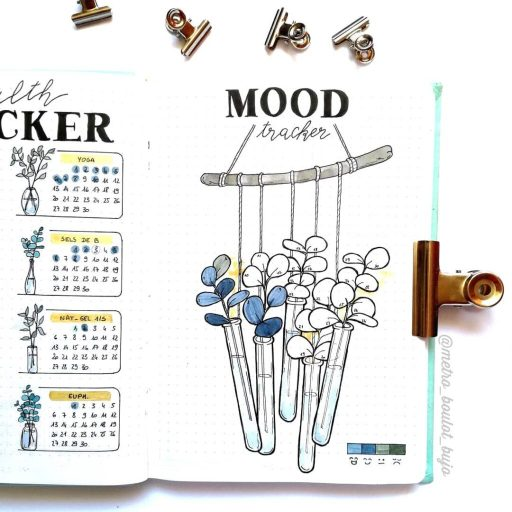 Mood tracker idea test tubes with flowers bullet journal spread