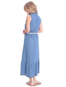 Φόρεμα τζιν μάξι γιακάς κουμπιά - ΤΖΙΝ