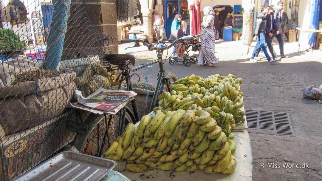 Essaouira Medina Morocco - Bananas and bike parking