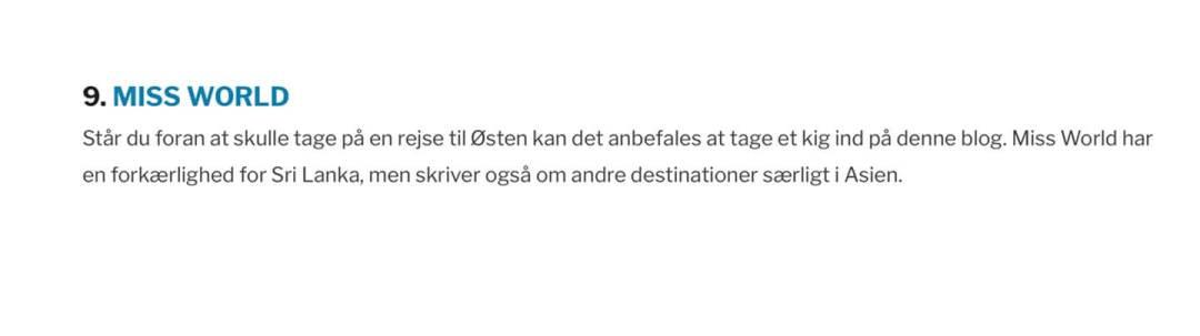 Gode Danske Rejseblogs 2017 - Her er hvad Rebecca og Kris fra Opdagelse.dk skrev om rejsebloggen Miss-World