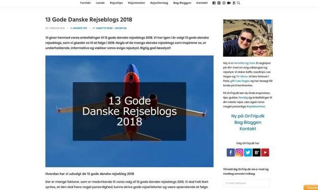 Anbefalet blandt 13 Gode Danske Rejseblogs 2018
