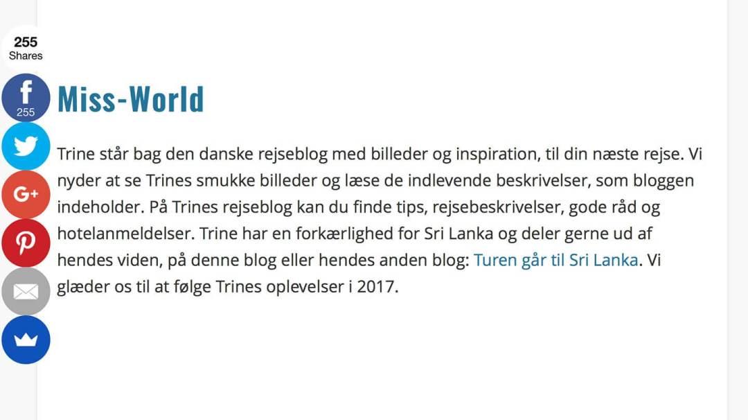 Miss-World er blevet anbefalet blandt 13 Gode danske rejseblogs af rejsebloggen OnTrip.dk