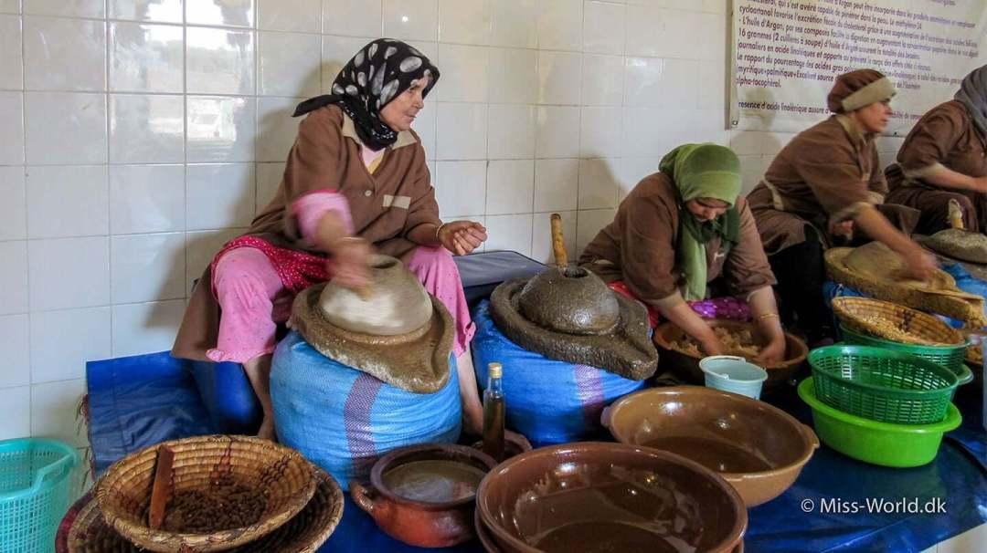 Kvinde-kooperativ i Marokko, demonstrerer hvordan man fremstiller argan olie