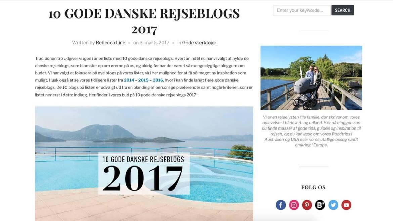 Opdagelse.dk har anbefalet Miss-World blandt 10 Gode Danske Rejseblogs 2017