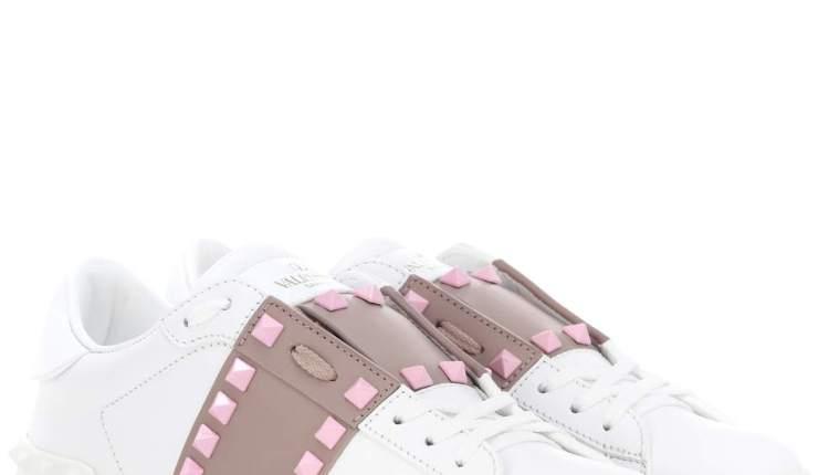Valentino Chaussures Exclusivité – Valentino Garavani – Baskets Candystud Bianco Poudre Absolut Rose AA58862