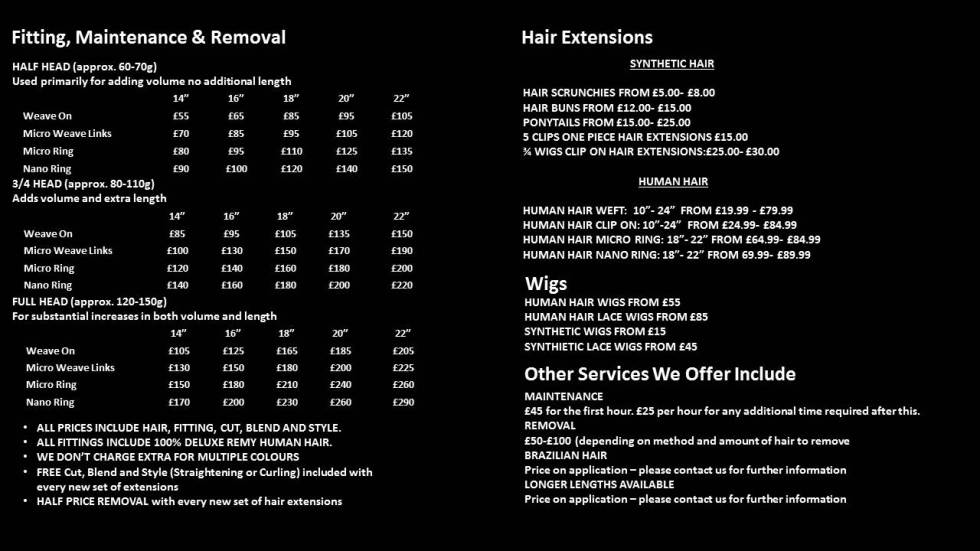 Fitting Maintenance Removal hair extensions
