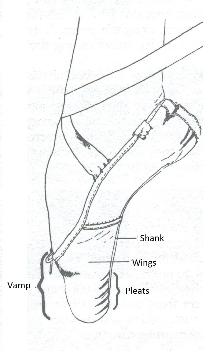 medium resolution of a diagram with pointe shoe s parts
