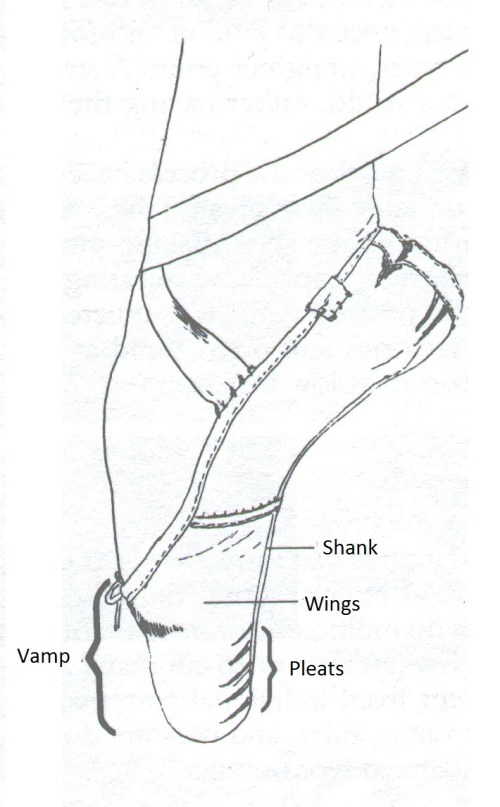 small resolution of a diagram with pointe shoe s parts