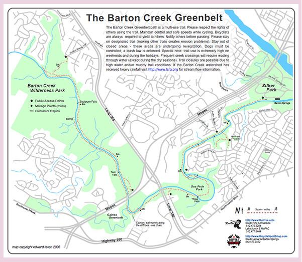 The Barton Creek Greenbelt map