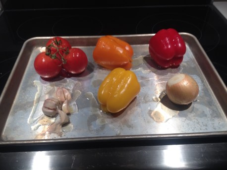 Veggies with oil, s&p, ready to go in the oven!