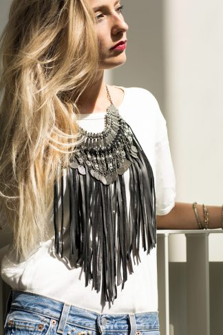 handmade leather necklace boho punk ethnic jewelry jewellery black fringe
