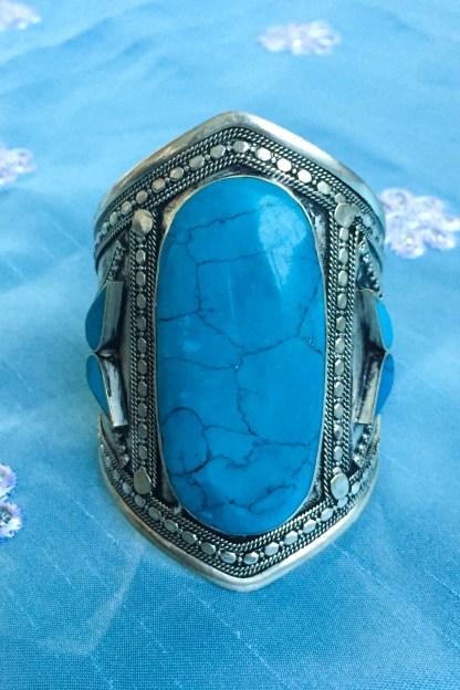 turqoise vintage antique bracelet cuff tribal ethnic kuchi silver