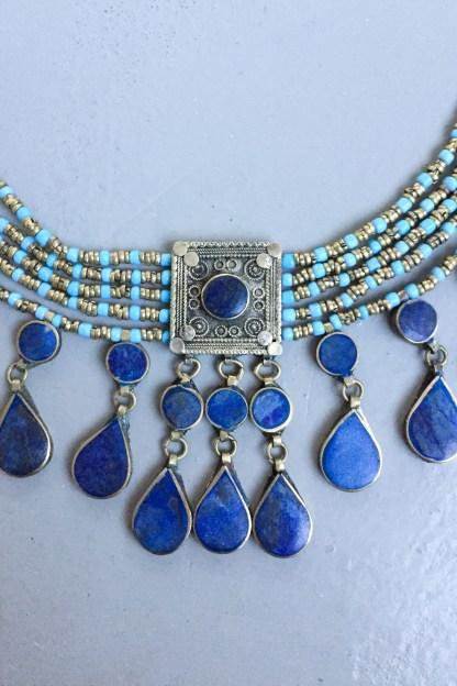 lapis lazula handmade jewelry jewels jewelry beads choker ethnic tribal cute vintage antique