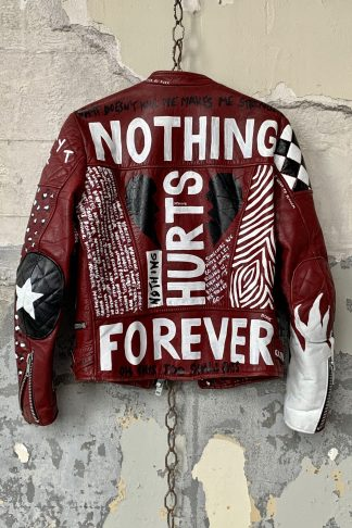 handpainted vintage laather punk love sickness nothing hurts forever punk jacket unique laather one of a kind
