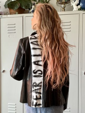 handpainted painted vintage leather jacket slow fashion no fast fashion unique one of a kind fear is a liar wearable art quote