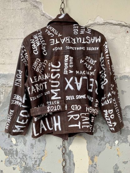 things to do handpainted vintage leather covidart covid covid19 covid19art corona corona art wearable punk quarantaine stay home