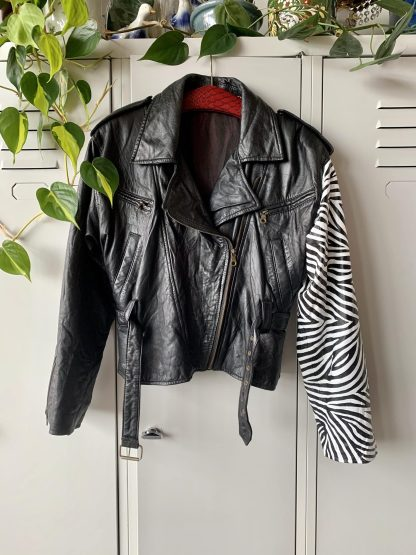 zebra punk jacket vintage bikerjacket motorjacket leather real embellished painted animalprint fashion sustainability wearable art black