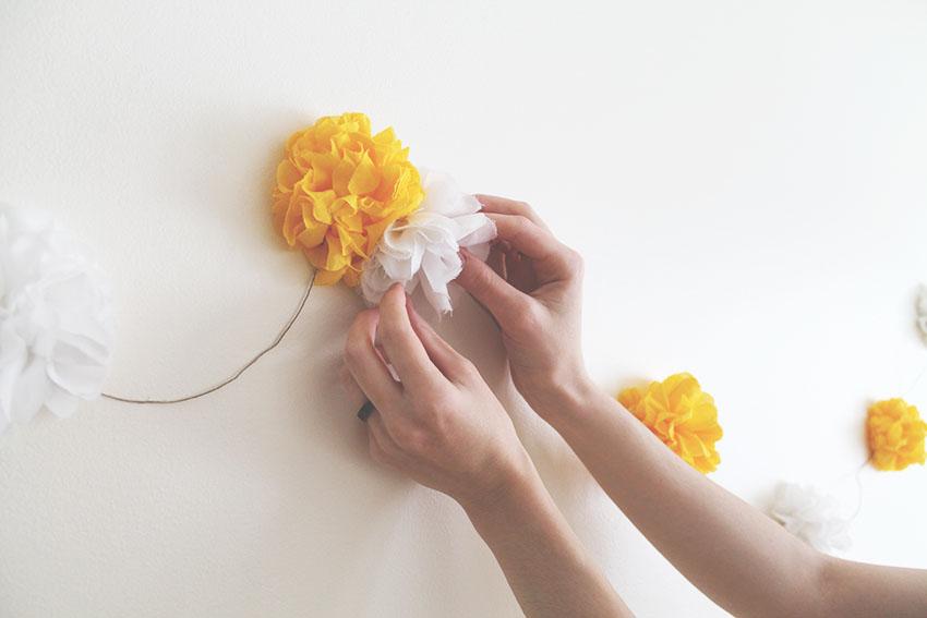 Yellow sunshine boréales guirlande fleurs tissu 4
