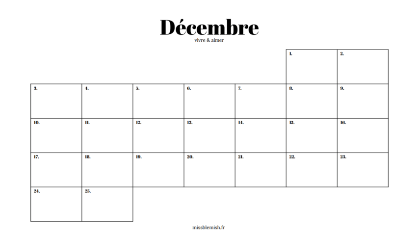 Calendrier Personnalise A Imprimer.Decembre Vivre Aimer Calendrier De L Avent A Imprimer