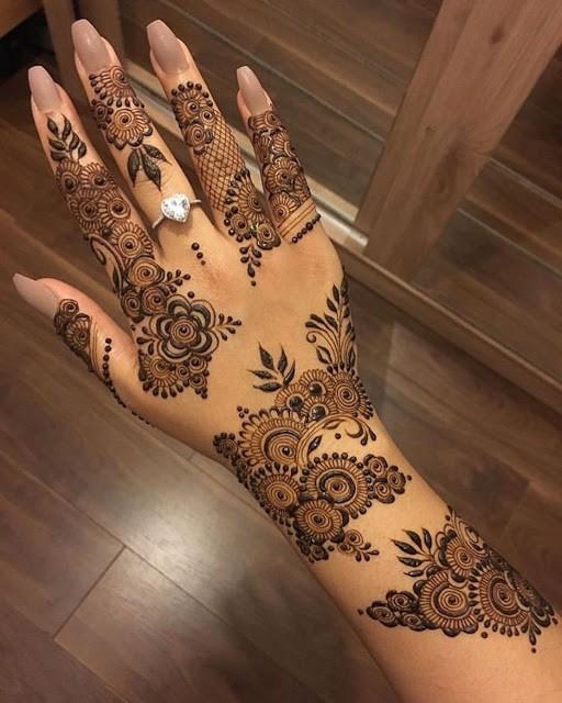 modern back hand arabic mehndi design