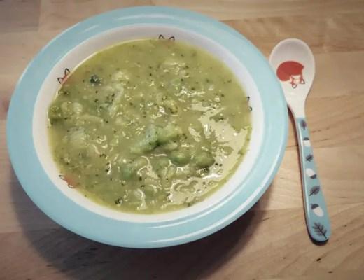 rezept selber machen, Kartoffel-Broccoli-Erbsen-Brei, Kinderteller,Löffel