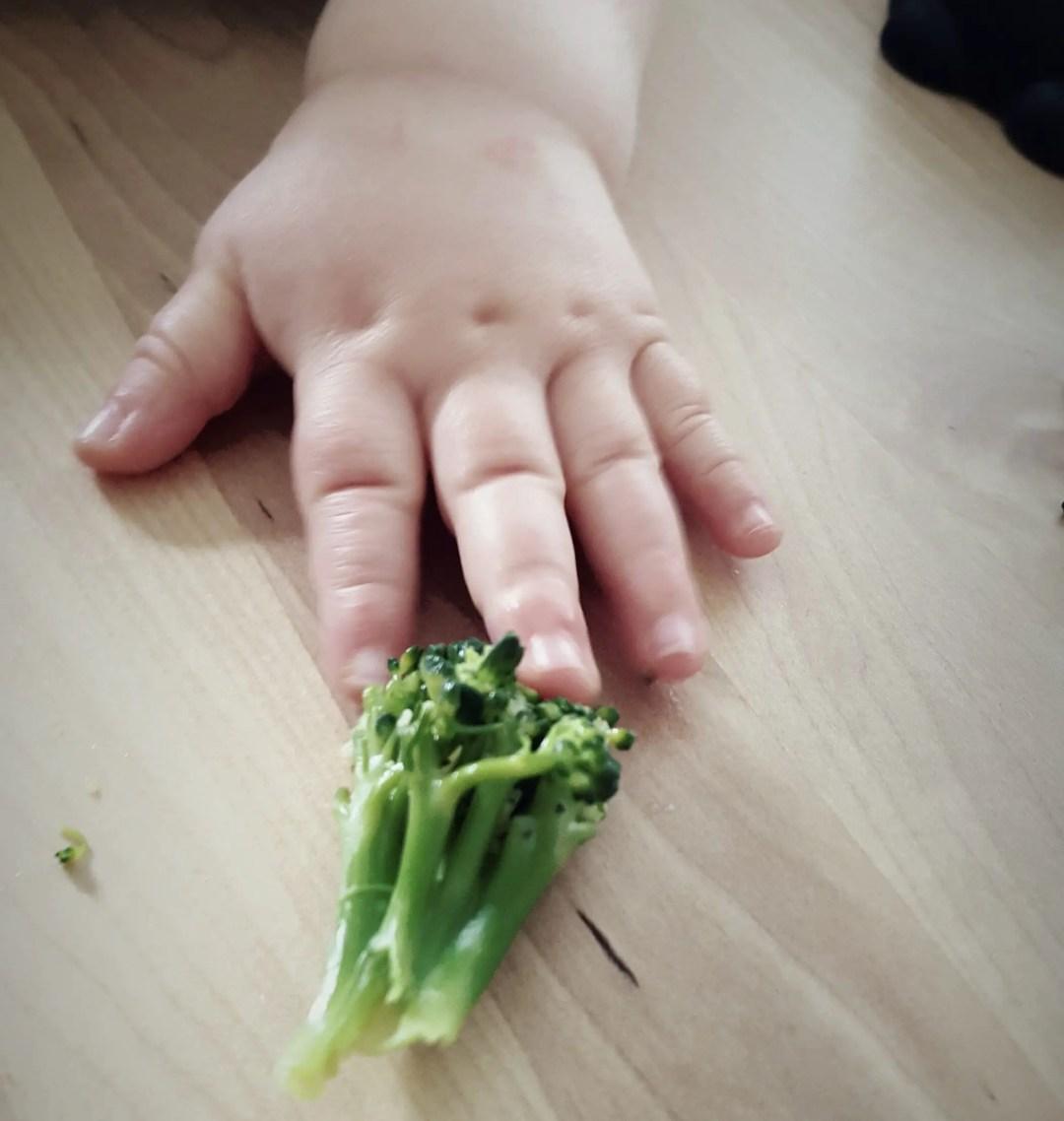 Broccoli und Hand