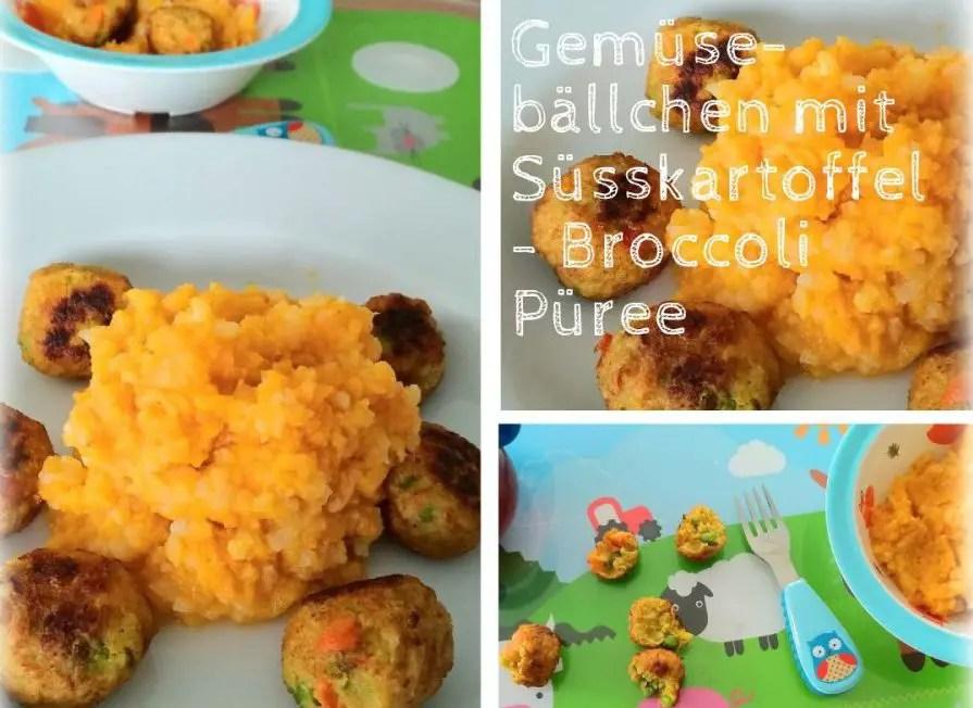 Gemüsebällchen mit Süsskartoffel-Broccoli Püree