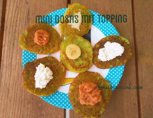 Rezept fingerfood kinder Mini-Dosa mit Tomatensauce, Banane, Hüttenkäse, vegetarisch