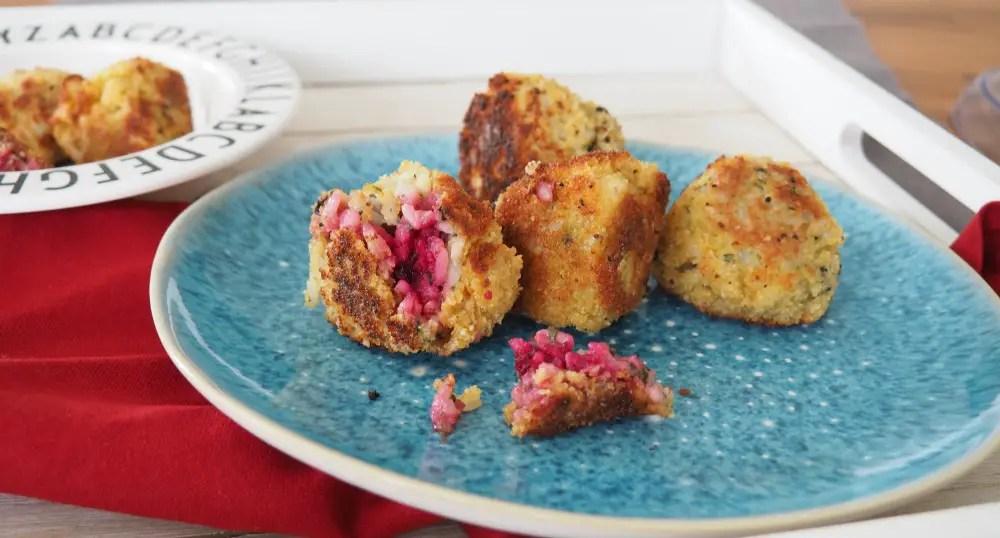 Rezept familie vorspeise hauptspeise vegetarisch Arancini Reisbällchen Rote Bete Randen