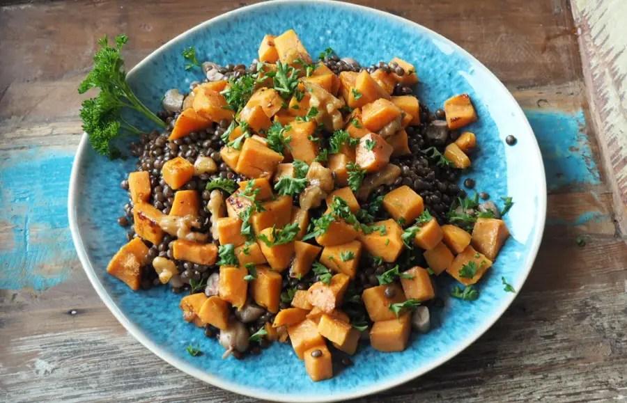 süsskartoffel, salat, lauwarm, rezep, beluga, linsen, cashews, vegan, einfach, israelisch, rezept, foodblog