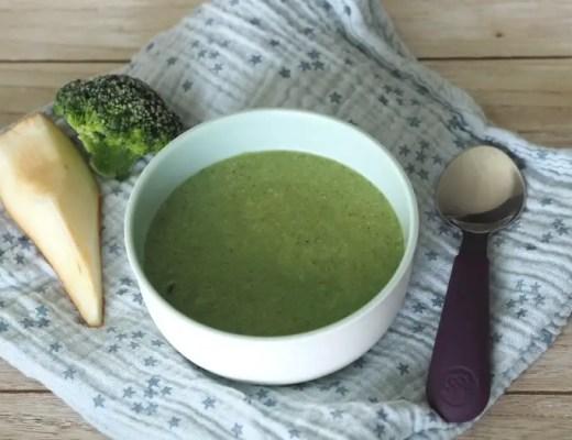 babybrei broccoli löffel birne